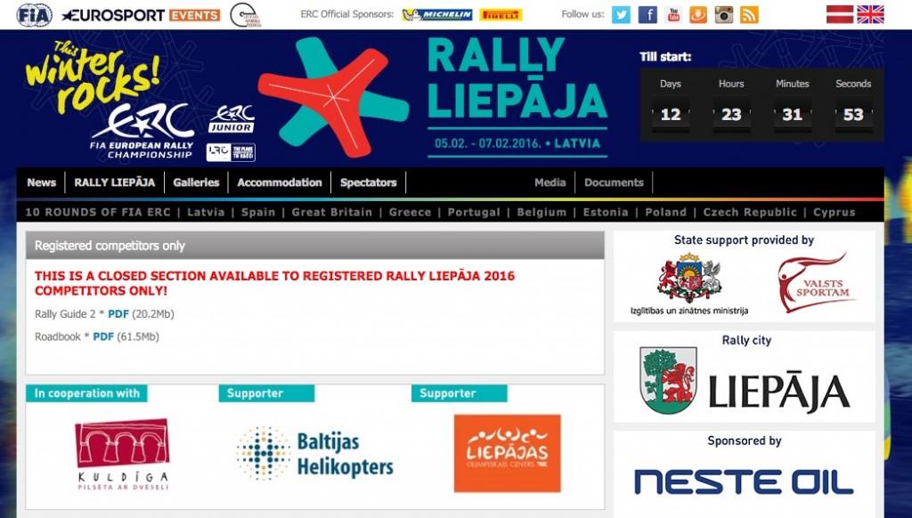 En una sección exclusiva para los participantes del Rally Liepaja ya distribuyen el roadbook completo.